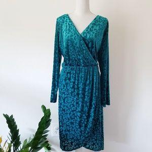 Lane Bryant Teal Animal Print Burnout Velvet Dress
